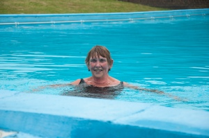 Sue Church in swimming pool at Barnwell School