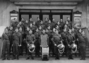 The Home Guard in 1944 on the steps of the Astonia