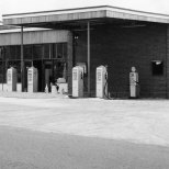 Creaseys petrol and service station opens on Cuttys Lane in 1958.